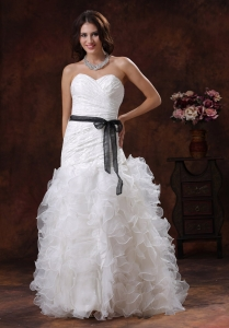 Sash Wedding Dress Sweetheart Ruffles Organza Sweep Train