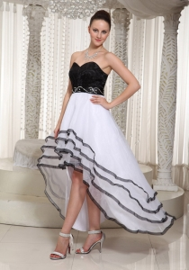 Black And White High Low Sweetheart Prom Dress