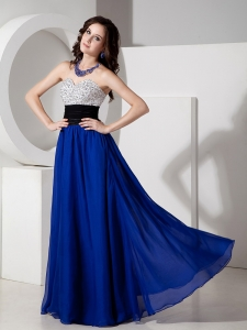 Beading Bust Black Sash Royal Blue Chiffon Prom Dress