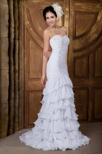 Mermaid Sweetheart Layers Wedding Dress Chiffon Beading
