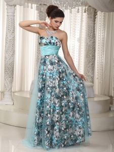 Prom Dress Printed Aqua Sash Sweetheart Tulle