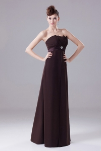 Dark Brown Prom Dress Chiffon High Waist Sash
