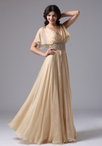 Champagne Evening Dress High Waist V Neck Prom Dress