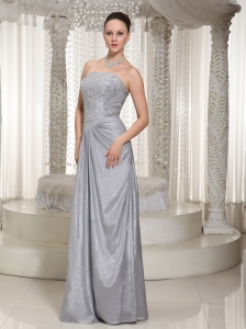 Evening Dress Beading Strapless Taffeta Gray Floor Length