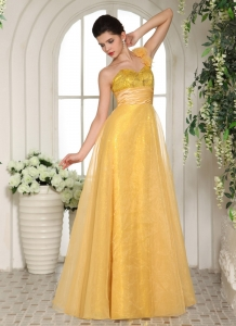 Sequins Tulle Yellow Prom Dress One Shoulder Sash