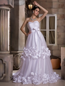 Appliques And Bow Wedding Dress Ruch Tulle
