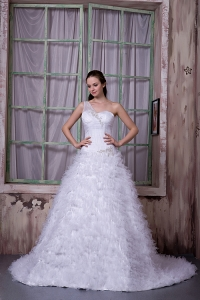 One Shoulder Wedding Dress Sweep Train Organza
