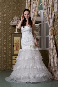 Wedding Dress Handmade Flowers Sweetheart Layers