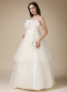 Ivory Strapless Wedding Dress Handmade Flowers Tulle