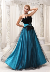 Black Feather Teal Tulle Floor Length 2013 Prom Dress