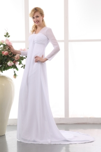Long Sleeves Court Train Maternity Wedding Dress
