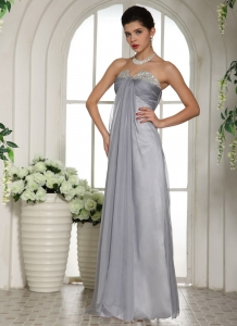 Gray Beading Chiffon Floor Length Prom Dress