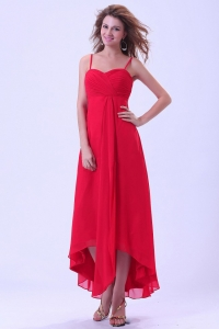 Coral Red Prom Dress Straps Ankle Length Ruch Chiffon