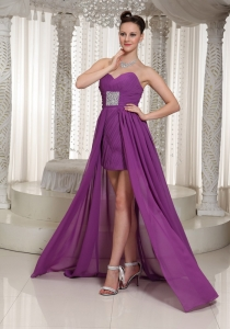 Purple High Low Sweetheart Ruch Beading Prom Dress