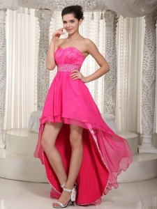 Hop Pink Sweetheart High Low Sash Prom Dress