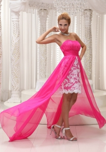 Hot Pink Lace Strapless Prom Dress High Low Prom Dress