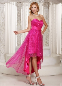 Hot Pink Sequin Cocktail Dress High Low Style Sash