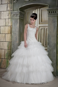 Wedding Dress Straps Layers Tulle Beading Court Train