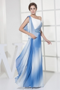 Gradient Blue Color One Shoulder Prom Dress Ruch