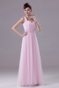 Pink Custom Made Prom Dress With Square Beading