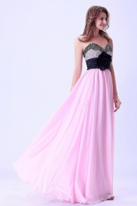 Pink and Black Sweetheart Beaded Prom / Evening Dress With Hand Made Flower