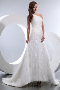Tulle One Shoulder Sweep Train Wedding Dress
