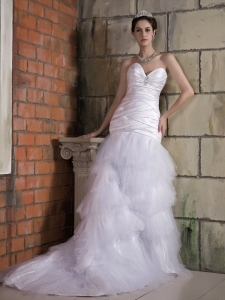 Sweep Train Wedding Dress Ruch Layered Tulle