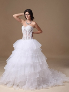Transparent Waist Wedding Dress Layers Organza Sweetheart