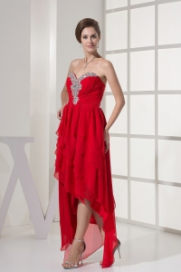 Coral Red High Low Chiffon Beading Prom Dress