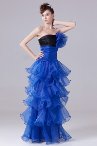 Royal Blue Black Layers Organza Handle Flower Party Dress
