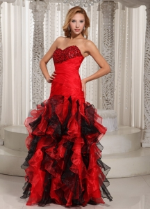 Ruffles Swetheart Prom Dress Red and Black With Beading