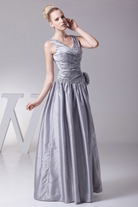 Handmade Flowers Prom Dress Gray V Neck Beading