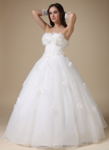 Strapless Appliques Flowers A Line Wedding Dress Tulle