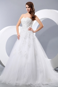 Tulle Wedding Dress Strapless Brush Train A Line