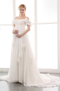 Off The Shoulder Sweep Train Ivory Wedding Dress