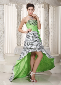 Apple Green Strapless Beading High Low Prom Dress