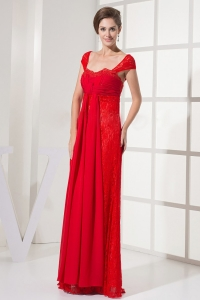 Lace Evening Dress Square Neck Cap Sleeves Red