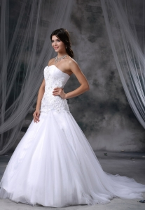Sweetheart Beading Sweep Train Mermaid Wedding Dress