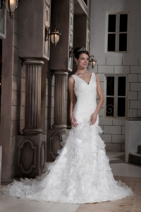 V Neck Organza Mermaid Wedding Dress Sweep Train