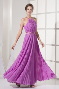 Pleated Sash Strapless Lilac Prom Dress Chiffon