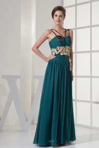 Straps Handmade Flowers Turquoise Chiffon Prom Dress