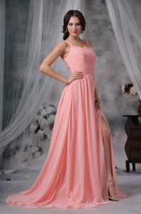 Watermelon High Slit Prom Dress Straps Ruches Sweep Train