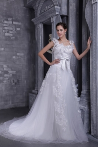 White A-line Square Court Train Tulle Lace Wedding Dress