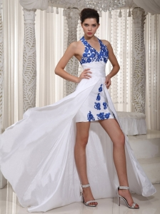 Halter Top High Low Prom Dress Taffeta Appliques