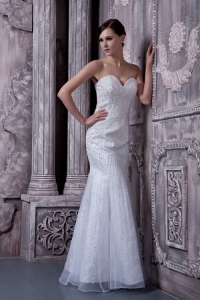 Sweatheart Mermaid Beading Wedding Dress Tulle