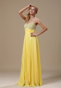 Chiffon Pleated Beading Prom Dress Yellow Beading