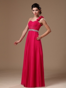 Rose Pink One Shoulder Prom Dress Handmade Flowers