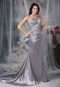 Taffeta Silvery Sweetheart Sweep Train Beading Taffeta
