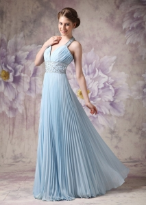 Sky Blue Pleated Halter Top Beading Prom Dress Chiffon
