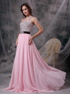 Baby Pink One Shoulder Brush Train Beading Prom Dress